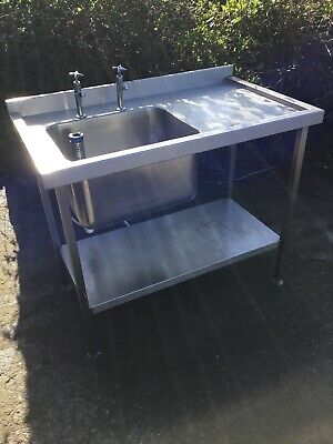 1.1 MSingle Bowl Sink Unit Taps Shelf Underneath Right Drainer Catering Kitchen