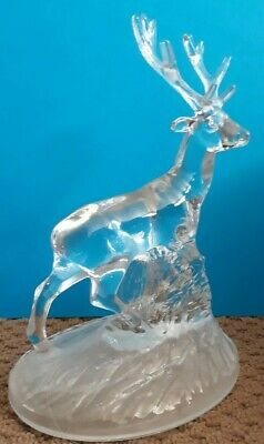 """Glass/Crystal Stag Deer Animal Christmas Ornament Collectable Antlers Horn 7"""""""