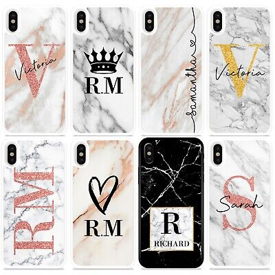 Initials Phone Case Personalised Marble Hard Cover For Apple Iphone Xr Max Xs 8