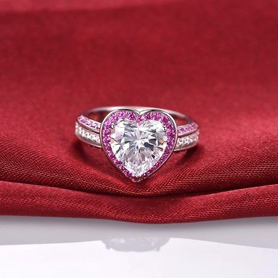 3.65Ct White Heart & Pink Round Diamond Halo Ring In Certified 14K White Gold