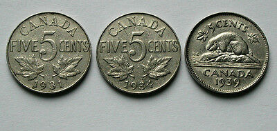 Lot of 3 - 1931 1934 1939 CANADA George V/VI Nickel Coins - 5 Cents - circulated