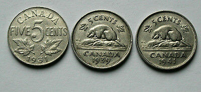 Lot of 3 - 1931 1939 1941 CANADA George V/VI Nickel Coins - 5 Cents - circulated