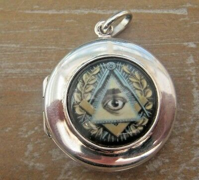 Solid Silver 925 & Enamel Gentlemans Fob Locket Pendant -Masonic Freemasons