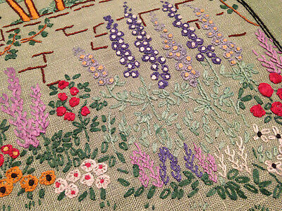 Vintage Hand Embroidered Picture Panel ~  Pretty Cottage Garden Flowers