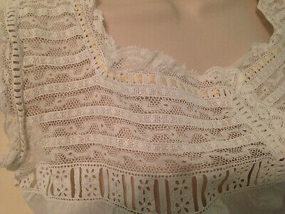 Antique Victorian Edwardian Ladies Camisole Bodice ~ Lace Trimmed