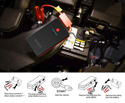 Arteck Car Jump Starter Auto Battery Charger and 8000mAh External Jumper for 12V