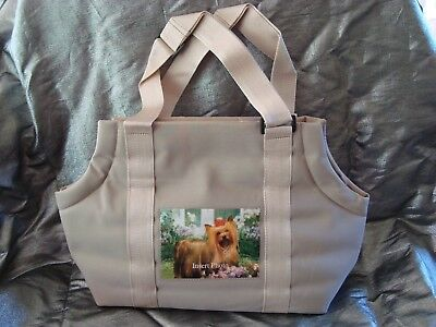 Small Tan Pet Carrier Soft Sided Dog / Cat Custom Photo Window Tote Bag New