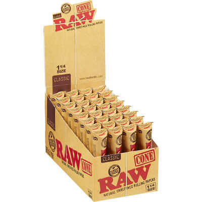 RAW Classic Pre-Rolled Cones 1 1/4 Rolling Papers Box 32 Packs 192 Cones -Sealed