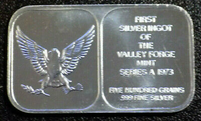 First Silver Ingot of the Valley Forge Mint Series A 1973 1 oz 999 silver bar