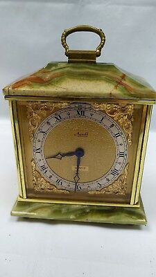 Vintage Azizoff of London Onyx Marble Brass Quartz Carriage Mantel Clock England