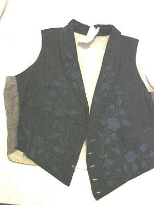 Vintage Antique early 1800s VEST Waistcoat LORD COBHAM 42 EMBROIDERED  BLUE