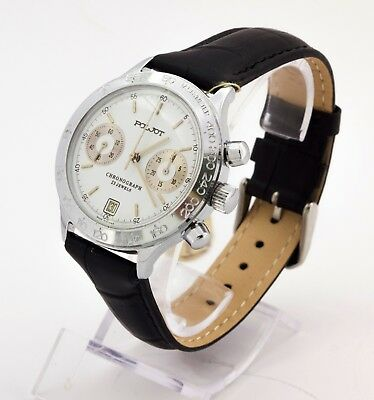 VGC Poljot 3133 Russian mechanical chronograph men's watch white dial EXPORT