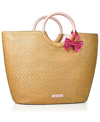 Juicy Couture Straw Tote Beach Bag with a Pink Bow & round handles, NEW WITH TAG