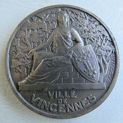 Medaille Argent Massif Solid Silver Rare French Medal Crouzat Vincennes Art Deco