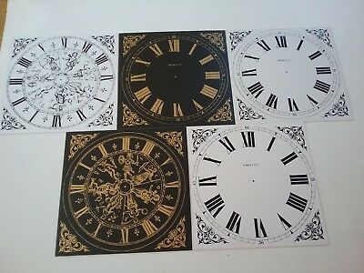 Five Brand New Vintage Style  Plastic (Not Paper) Clock Face Dial Squares