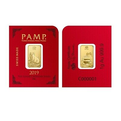 1 gram Gold Bar - PAMP Suisse Lunar Pig .9999 Fine (In Assay from Multigram+8)
