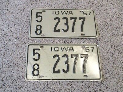 1967 Iowa Vintage License Plates MATCHING PAIR II