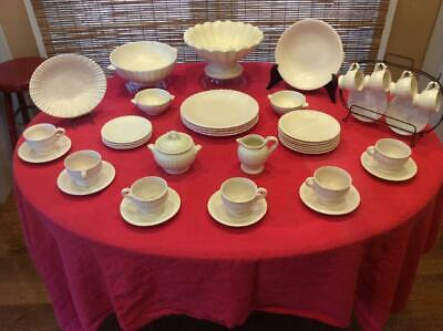 RARE 42 Pieces - Vintage Fluted 1937 Stangl Dinnerware - Colonial - Satin White