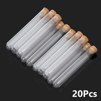 Clear PS Hard Plastic Test Tubes with Cork Stoppers for Candy Beans Or Lab 20Pcs