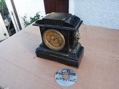 Vintage Metal Ansonia  Mantel Clock. With Lion  Heads.