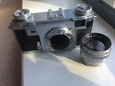 ZEISS Ikon CONTAX IIA Rangefinder 35mm camera, Sonnar 50mm lens & leather case.