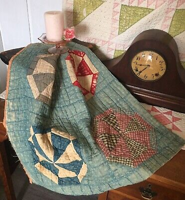 Antique Vintage Old Faded Early Cadet Blue Mariner's Wheel Patchwork Piece #1