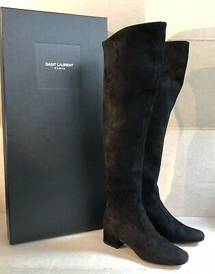 6286fd7ba38 NIB Saint Laurent Black Suede Heeled Over the Knee Babies Boots SZ 38.5