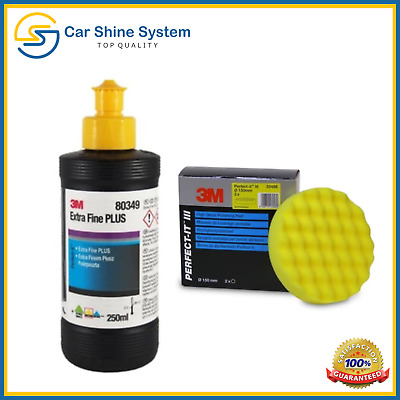 3M Perfect it III Extra Fine Plus Cutting Compound 80349 250ml + 3M Yellow Pad