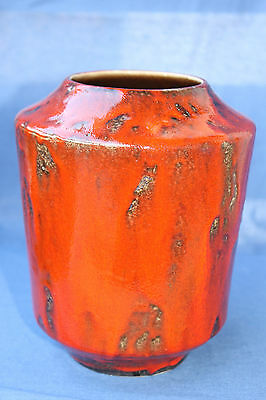 20cm Vase 70s rot red fat lava 70er wgp wie scheurich volcano otto pottery 60er