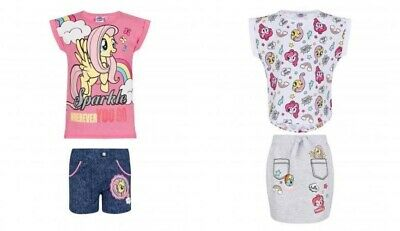 T-shirt shorts My Little Pony set outfit cotton pink white new girls