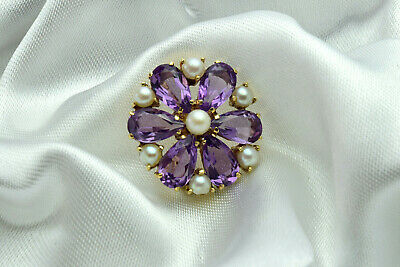 Pretty, Vintage 9ct Gold, Amethyst and Seed Pearl Brooch