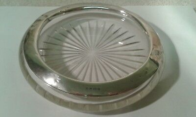 A Silver Mounted Circular Glass Ashtray/Dish - Birmingham 1925 -16 cms.