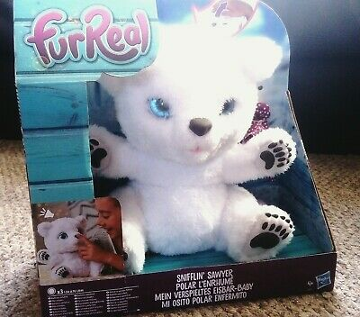 BNWT FurReal Friends Snifflin Sawyer Polar Bear Kids Christmas Gift Sneeze Feed