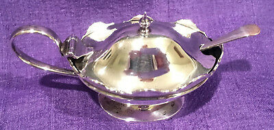 English Sterling Silver Mustard Pot with Cobalt Glass Liner & Spoon, 1921 + 1908
