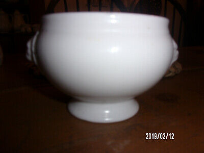 White Ironstone China footed dish / bowl with Lion Heads
