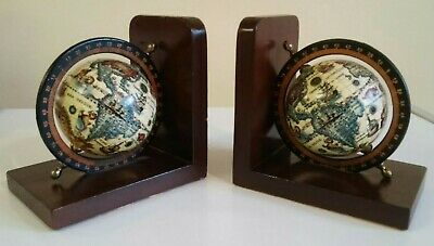 Vintage Old World Map Globe Bookends on Wooden Base - Pair