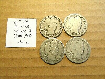 $1 Face Value~90% Silver~Barber Quarters~1900-1908~Free Shipping~.80 oz~Lot 14!
