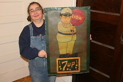"Vintage 1940's 7Up 7 Up Slow School Zone Police Soda Pop 27"" Metal Sign"
