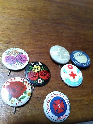 7 Old Metal Pins Tinnies 3 Red Cross 1 Hospital 3 Rose Day Appeal Fund Badges