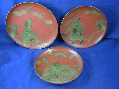 Antique Japanese Lacquer Tray/dishes Gilded Decoration  *