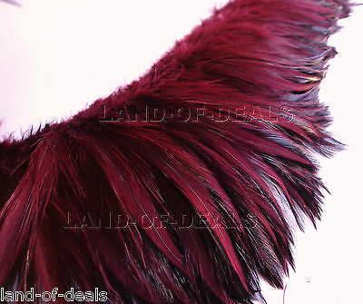 Red Wine rooster hackle feather Wholesale bulk real feathers, 4 in (10 cm) long