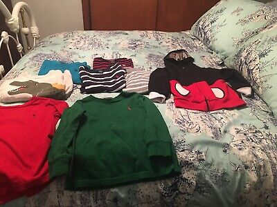 8 Boys Lot Size 4/4T Polo Ralph Lauren/carter'S/mickey Mouse Light Sweaters