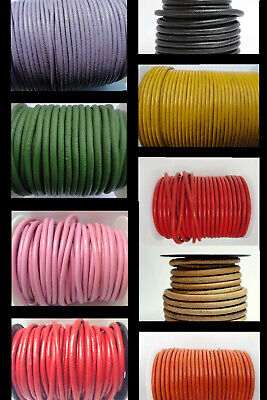 8mm Real Round Leather Cord  String Lace Thong Jewellery making 100% FULL Real