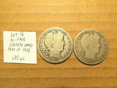 $1 Face~90% Silver~Barber Halfs~1907-d and 1908~Free Shipping~.81 oz~Lot 38!