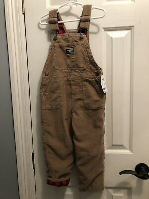 NWT OshKosh B'gosh Boys Flannel Lined Corduroy Overalls Size 4T Brown
