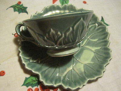 Vtg Steubenville China Woodfield Green Jungle Cup & Saucer