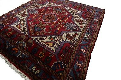 Rare Antique Persian Heriz Karaje Rug Red 4'x4' (127cm x 127cm) C.1940