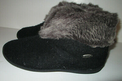 f8305a63e6d ACORN WOMENS CHINCHILLA BLACK BOOTIE SLIPPERS sz Large 8-9 -  9.99 ...
