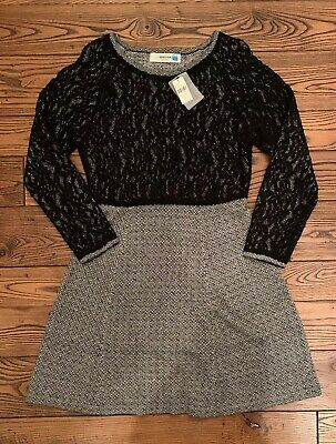 85b060fc3c66 Anthropologie dress Size Large Sparrow Black Lace With Gray Tweed  Darling🖤NWT