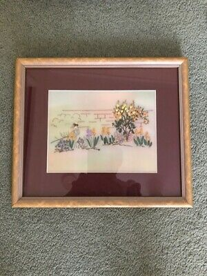 Needlework Handpainted and ribbon and embroidered garden picture on silk backing